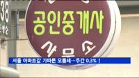 서울 아파트값 가파른 오름세…주간 0.3% 상승