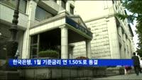 한국은행, 1월 기준금리 연 1.50%로 동결