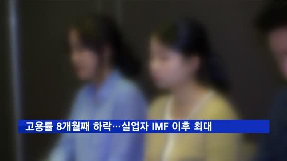 고용률 8개월째 하락…실업자 IMF 이후 최대
