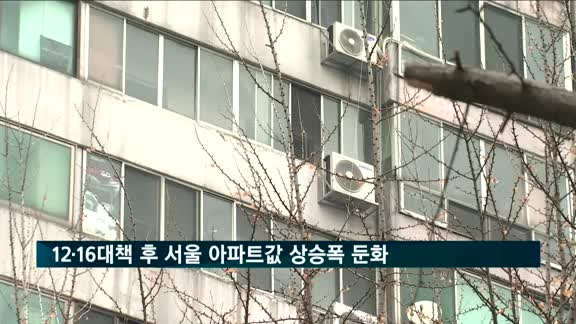 12·16대책 후 서울 아파트값 상승폭 소폭 둔화