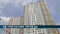 서울 10억원 이상 아파트 거래 비중 감소