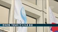 한국은행, 기준금리 연 0.5%로 동결…네 번째 동결