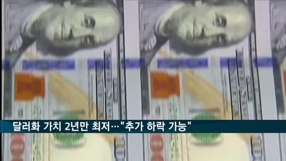 """달러화 가치 '2년만 최저'…""""20% 추가 하락할 수도"""""""